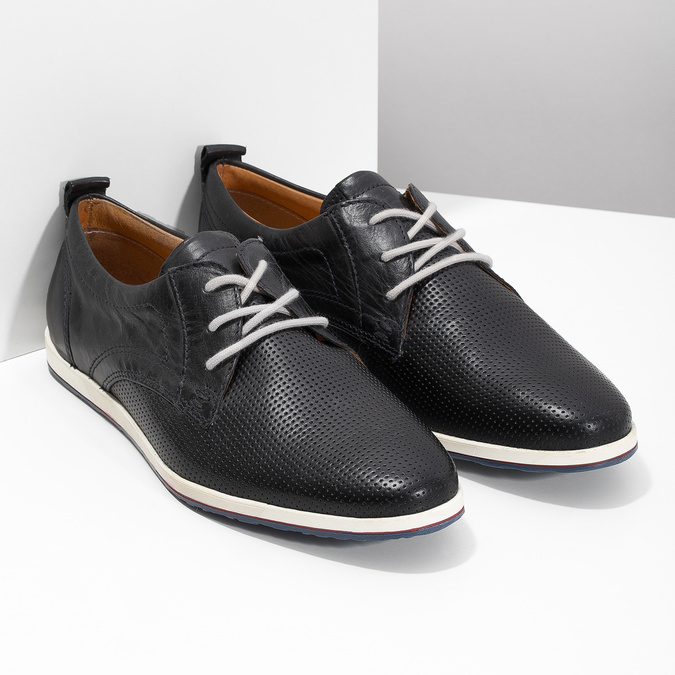 Casual leather low shoes bata, black , 824-9124 - 26