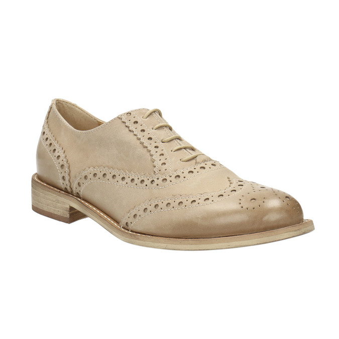 Ladies´ leather shoes with decorations bata, beige , 524-8482 - 13