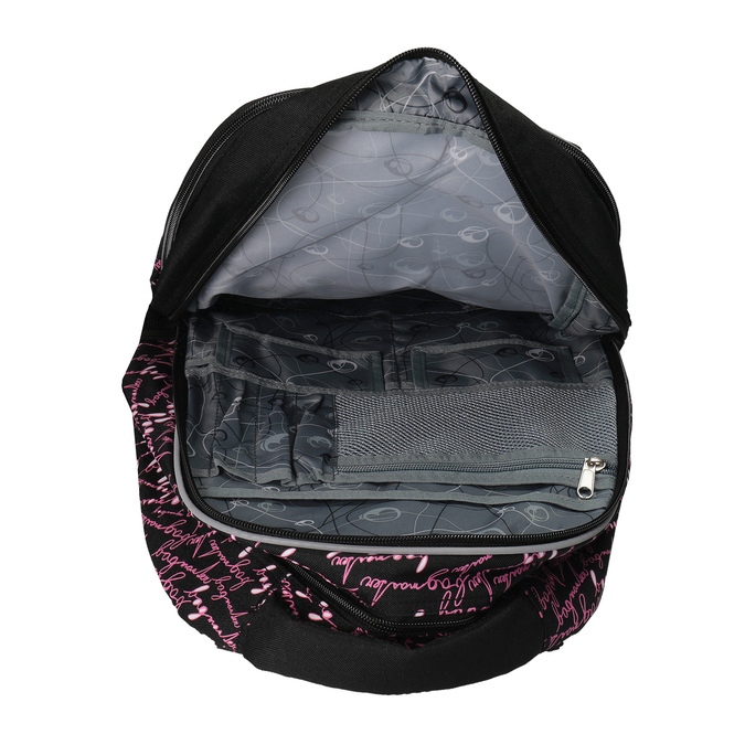 School backpack with a printed pattern bagmaster, black , 969-6602 - 15
