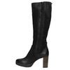 Leather platform high boots bata, black , 796-6632 - 26