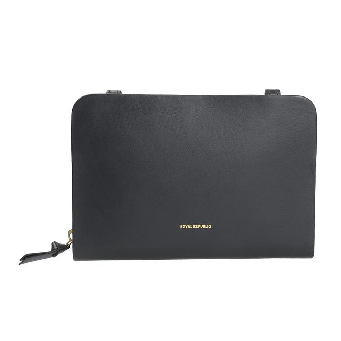 Black leather crossbody handbag royal-republiq, black , 964-6017 - 26