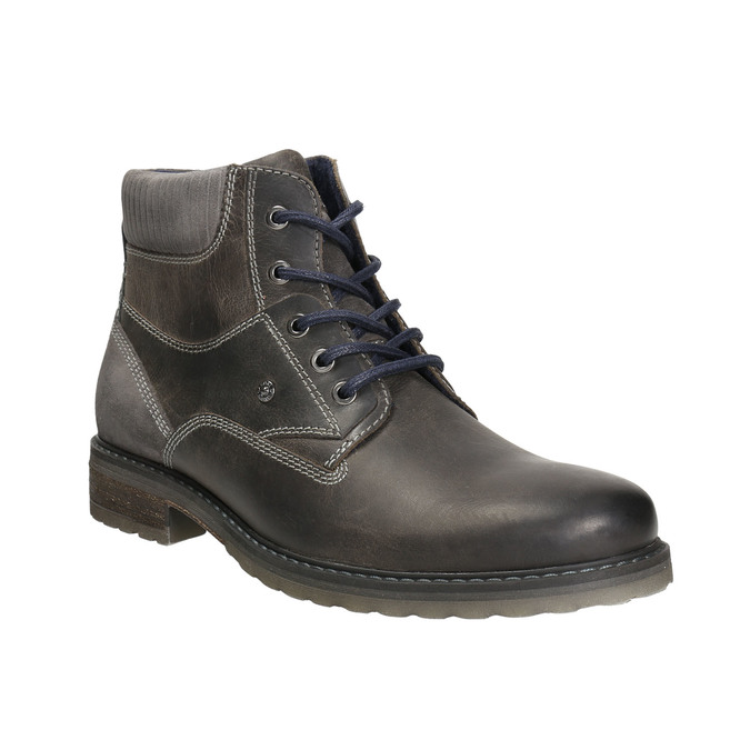 Leather ankle-cut shoes bata, gray , 894-2643 - 13
