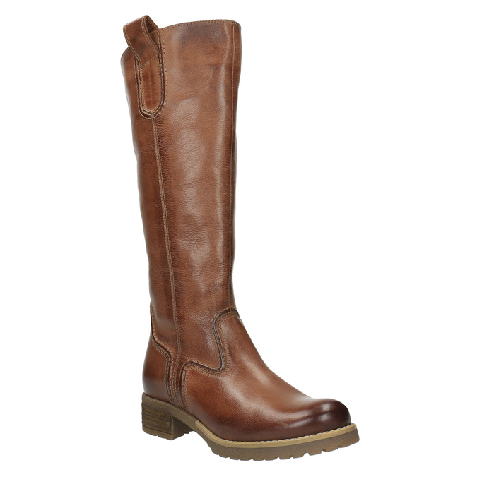 Brown leather high boots bata, brown , 594-4613 - 13