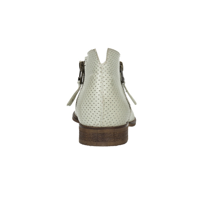 Leather high ankle boots with perforations bata, white , 596-1647 - 17