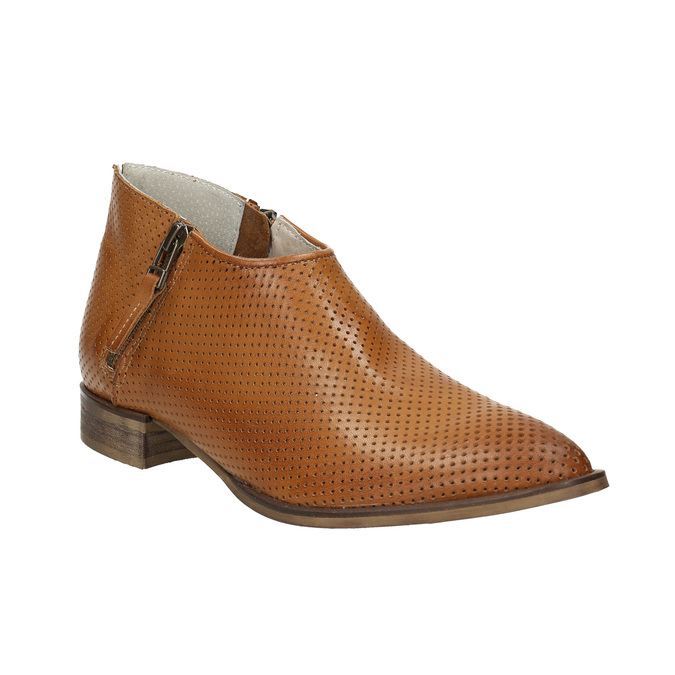 Leather high ankle boots with perforations bata, brown , 596-4647 - 13