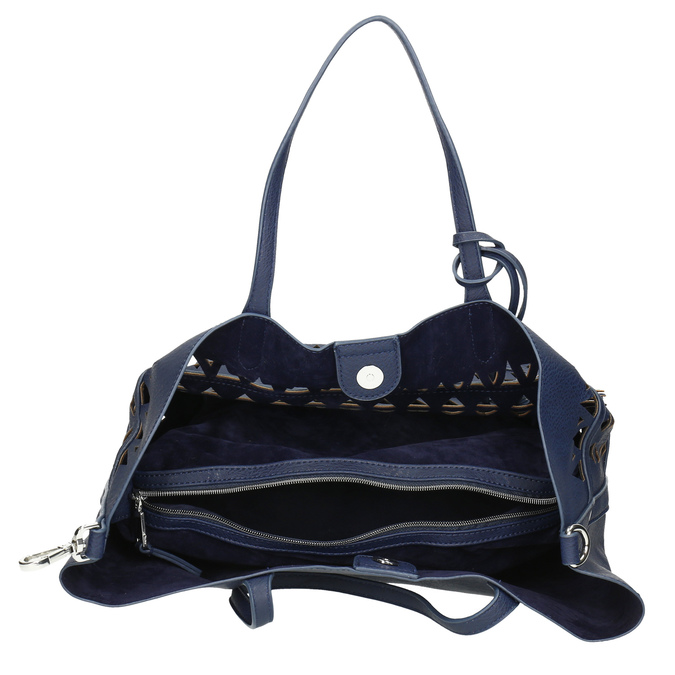 Blue handbag with tassels bata, blue , 961-9274 - 15