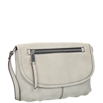 Crossbody handbag with perforated flap bata, gray , 961-2709 - 13