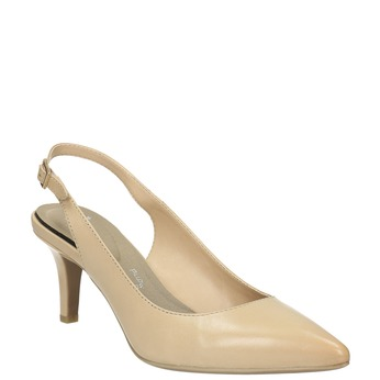 Ladies´ leather Sling-back pumps pillow-padding, beige , 624-8638 - 13