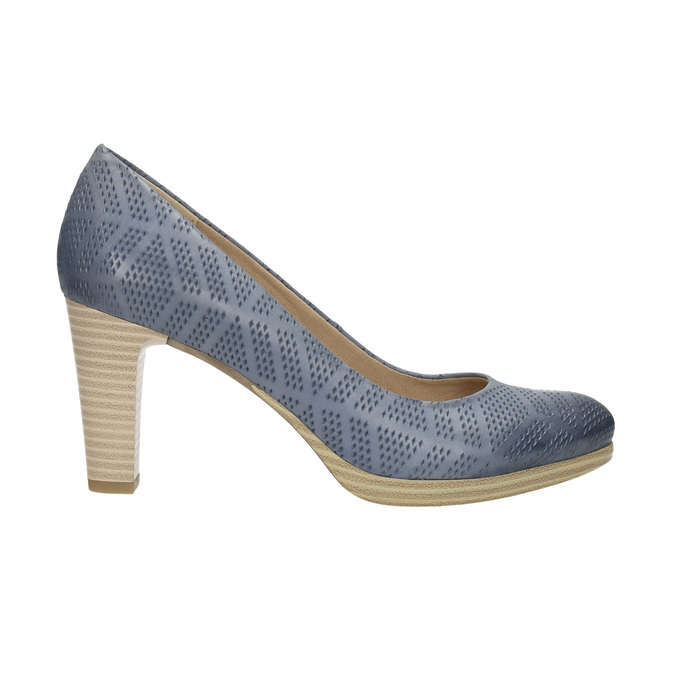 Ladies´ leather pumps with perforations pillow-padding, blue , 726-9642 - 15