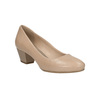 Leather low-heeled pumps pillow-padding, beige , 626-8637 - 13