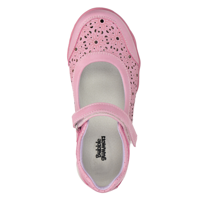 Girls' pink ballet pumps with strap across instep bubblegummer, pink , 321-5603 - 19