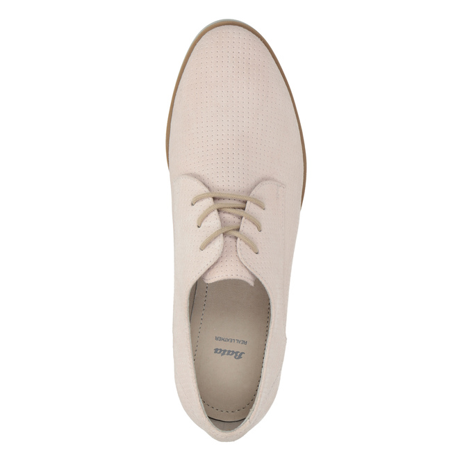 Leather shoes with perforations bata, pink , 523-5600 - 19