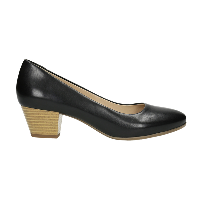 Pumps with a rounded toe pillow-padding, black , 624-6637 - 15