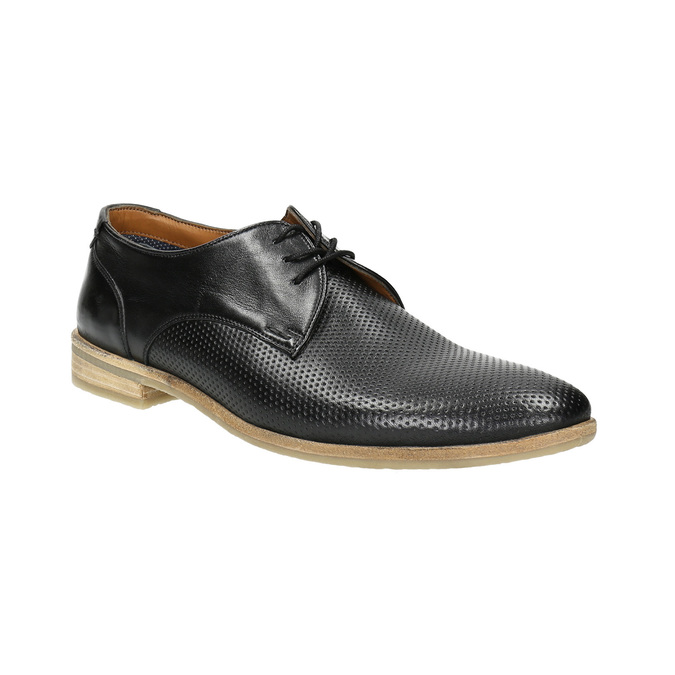 Black leather shoes with a light sole bata, black , 824-6807 - 13