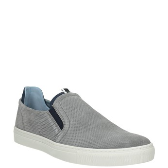Grey leather slip-ons bata, gray , 833-2600 - 13