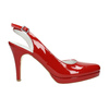 Red leather pumps with open heel insolia, red , 728-5638 - 15