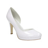 White leather pumps with cut-outs insolia, white , 728-1637 - 13