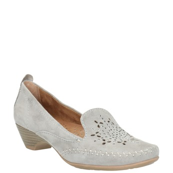 Ladies' leather H-width moccasins bata, gray , 523-2603 - 13