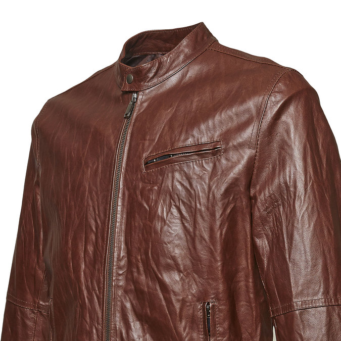 Women's leather jacket with trendy quilting bata, brown , 974-4142 - 16