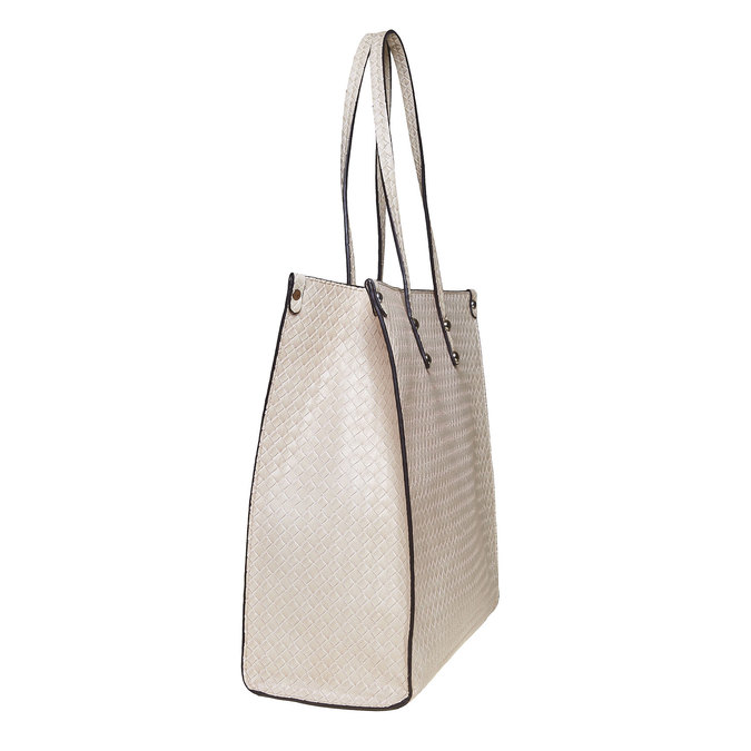 Ladies' cream handbag with braided pattern bata, beige , 961-8289 - 17