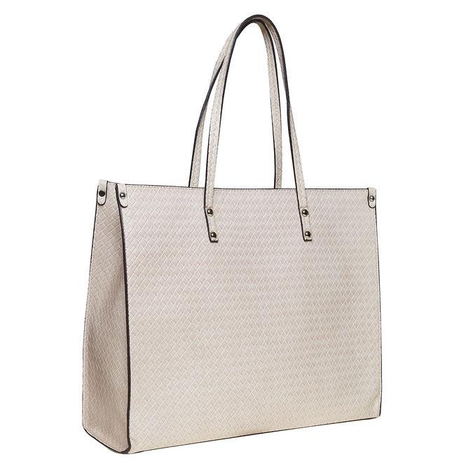 Ladies' cream handbag with braided pattern bata, beige , 961-8289 - 13