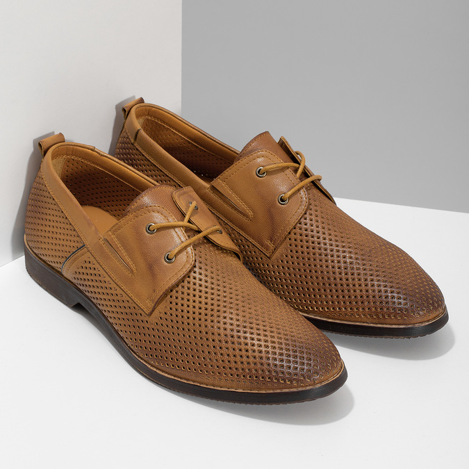 Casual leather shoes with perforations, brown , 856-3601 - 26