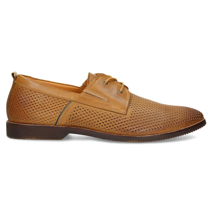 Casual leather shoes with perforations, brown , 856-3601 - 19