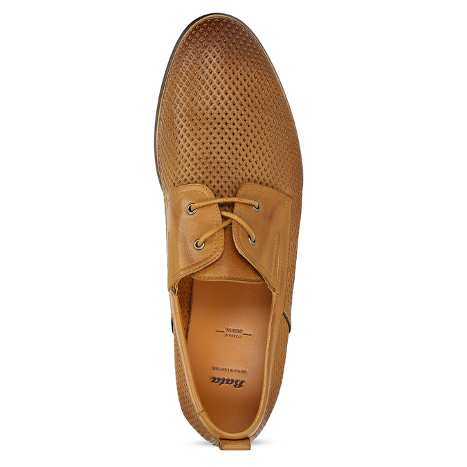 Casual leather shoes with perforations, brown , 856-3601 - 17