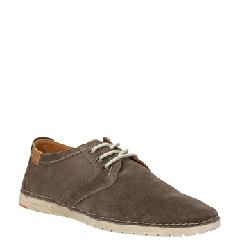 Casual shoes of brushed leather weinbrenner, brown , 843-4629 - 13