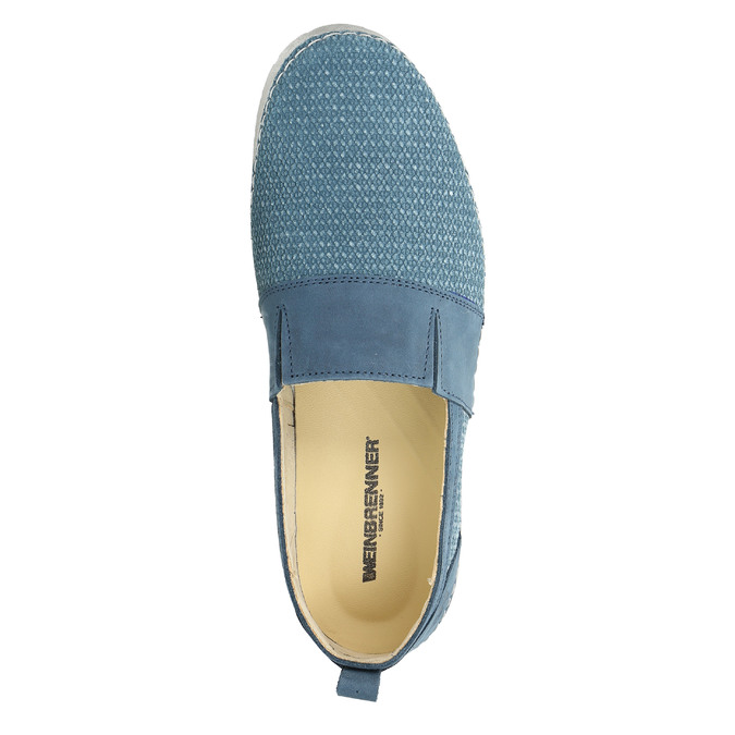 Blue leather slip-ons weinbrenner, blue , 513-9263 - 19