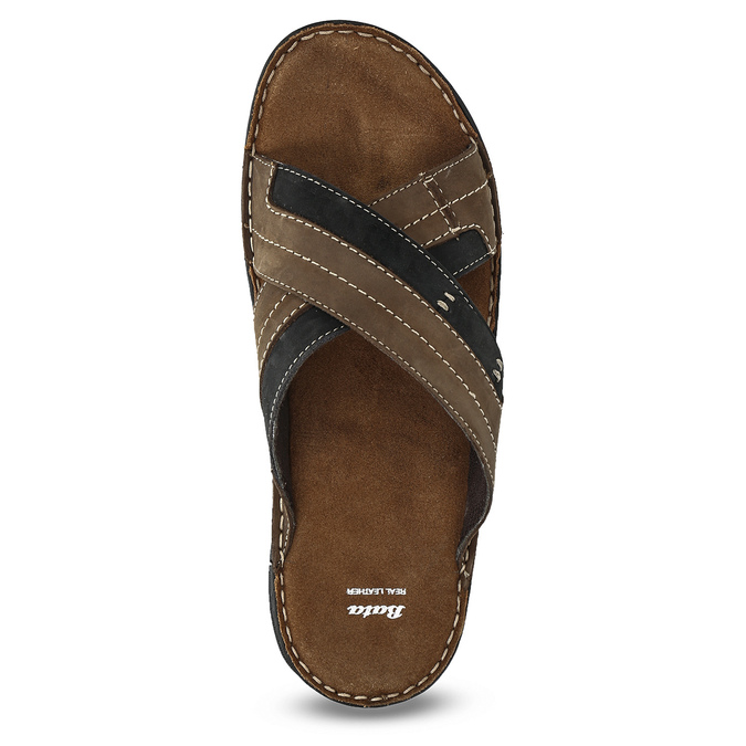 Men's leather slip-ons bata, brown , 866-4612 - 17