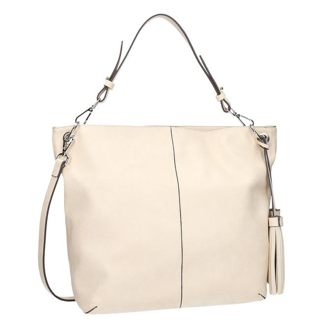 Handbag with tassels bata, beige , 961-8703 - 13