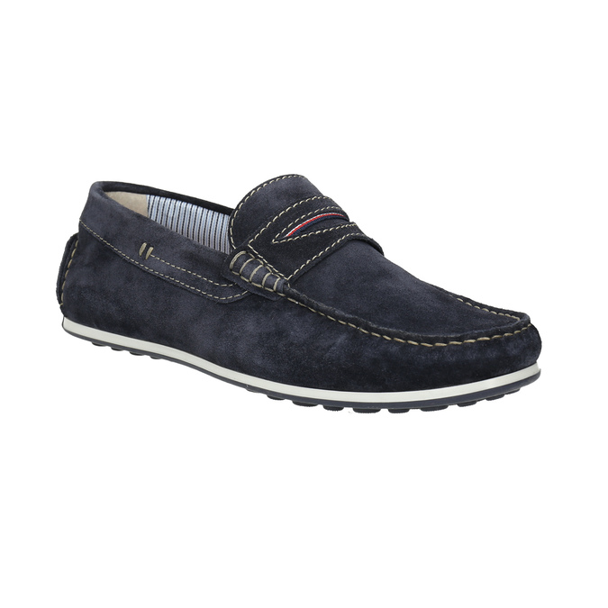 Brushed leather moccasins bata, blue , 853-9614 - 13