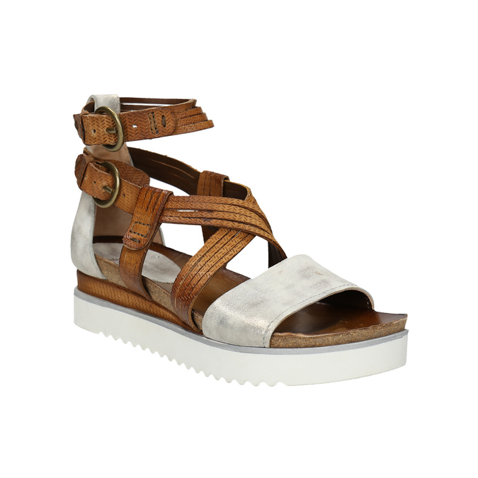 Leather flatform sandals bata, brown , 666-1605 - 13