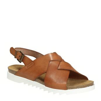 Ladies' interlacing leather sandals weinbrenner, brown , 566-4628 - 13