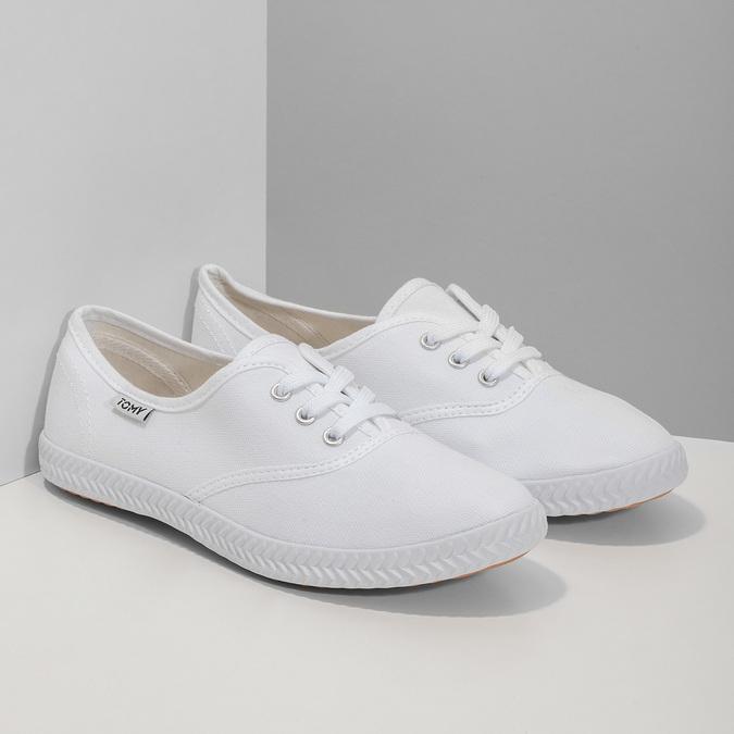 Ladies' white sneakers tomy-takkies, white , 589-1180 - 26