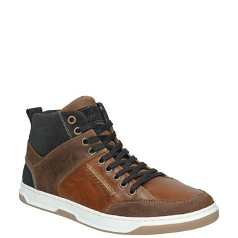Leather high-top sneakers bata, brown , 846-3640 - 13