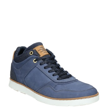 Leather high-top sneakers bata, blue , 846-9641 - 13