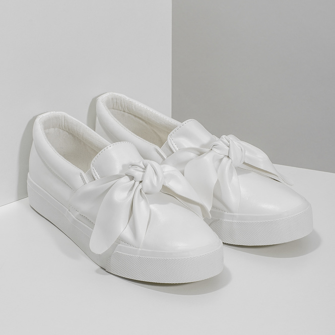 Ladies' slip-ons with bow north-star, white , 511-1606 - 26
