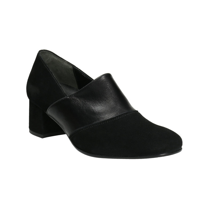 Leather pumps on a low heel gabor, black , 613-6126 - 13