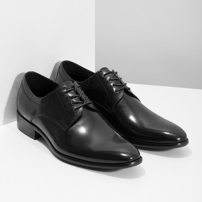 Men's leather Derby shoes bata, black , 824-6233 - 26