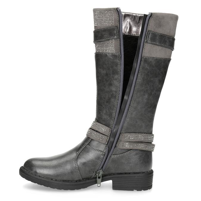 Girls' High Boots with Rhinestones mini-b, gray , 391-2655 - 17