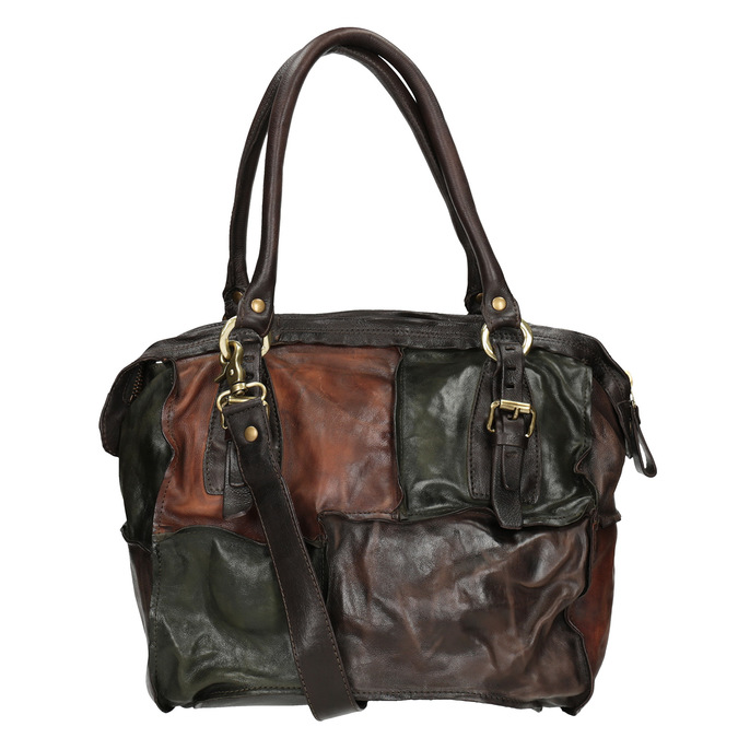 Leather Patchwork Handbag a-s-98, multicolor, 966-0062 - 16