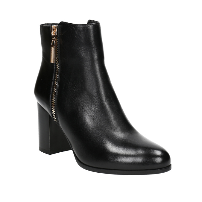 Leather high ankle boots bata, black , 694-6640 - 13