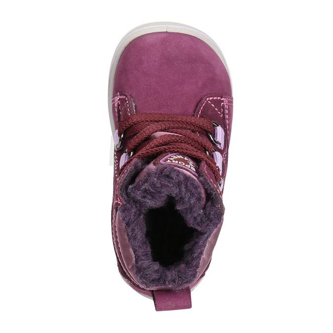 Children's Leather Winter Boots bubblegummer, violet , 196-5600 - 26