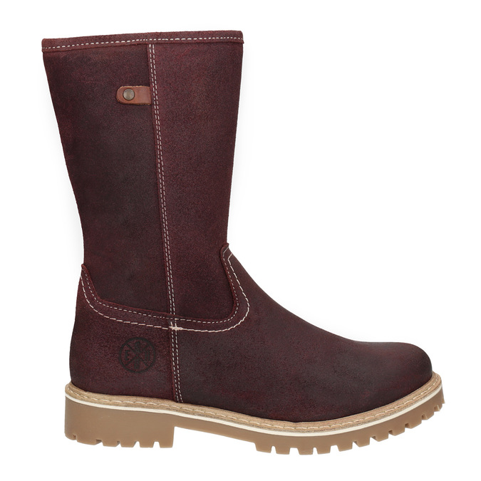 Girls' Leather High Boots with Stitching bullboxer, red , 493-5019 - 26