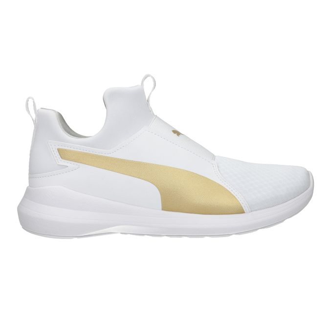 White Ladies' Sneakers with Gold Stripe puma, white , 509-1200 - 26