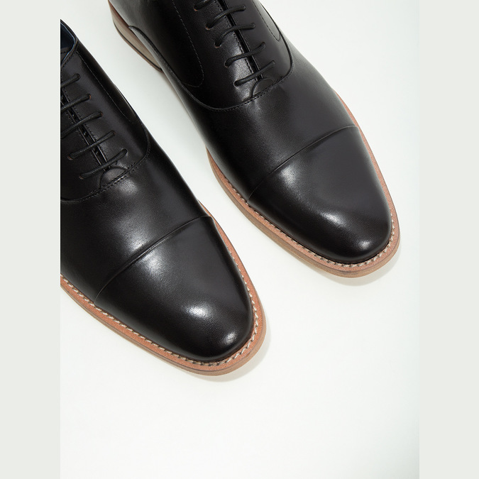 All-leather Oxford shoes bata, black , 824-6414 - 14