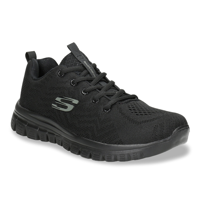 Black Athletic Sneakers with Perforations, black , 509-6318 - 13