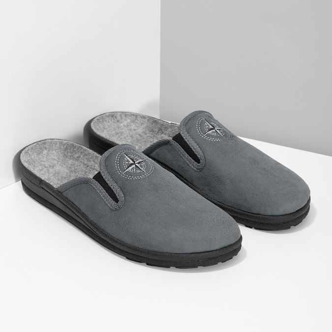 Men's Slippers bata, gray , 879-2610 - 26